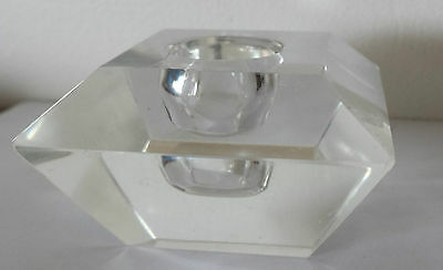 Square Crystal Faceted  Candle Holder