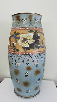 Large Hand Painted Victorian Milk Glass Vase
