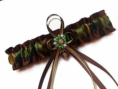 PLUS SIZE Green CAMO ARMY Armed Forces Wedding GARTER Prom Bridal Camouflage