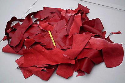 Red Garment Lambskin Hand size or smaller Scrap leather Pieces/Off Cuts 0.4 KG