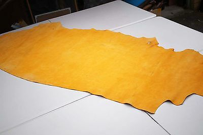 Yellow Gold Nubuck Cowhide Side 180 x 80cm Flexible Cow leather