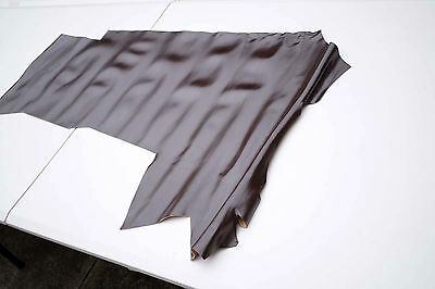 Dark Brown Cowhide remnant/piece 90 x 35cm Semi gloss flexible 1 mm cow leather