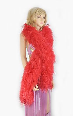 """12 plys red Luxury Ostrich Feather Boa 71"""" long A Quality full and fluffy"""