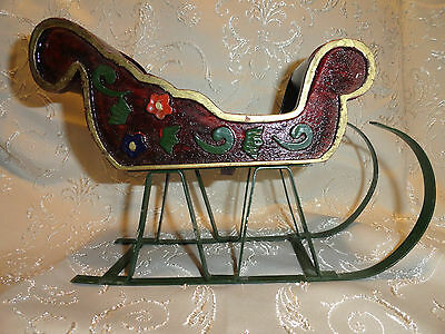 """Vintage Wooden Sleigh Removable Metal Runners Decor Painted & Varnished 9-3/4"""" L"""