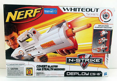 Brand New NERF N-Strike DEPLOY CS-6 Dart BLASTER Rare WHITEOUT