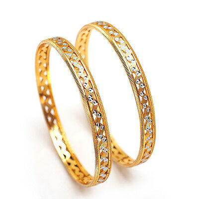 Bangles 2 Piece Indian Handmade Cz Ad Gold Plated New Mughal Nizam Jewelry 6363