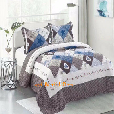 Super King Size Bed Patchwork Quilted Bedspread Coverlet Set 100% Cotton Floral