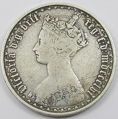 QUEEN VICTORIA SILVER GOTHIC FLORIN/ TWO SHILLINGS dated mdccclvi - 1856
