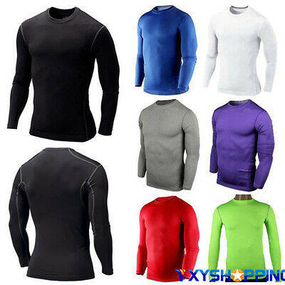 Men's Compression Armour Base Layer Top Long Sleeve Thermal Gym Sports Tshirt