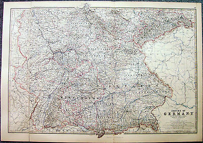 1873 Old Original Antique Map Of Empire of Germany - South West