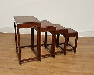 Chinese Hardwood Quartetto Nest Of Tables Vintage 20Th Century.