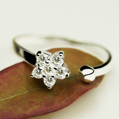 925 Sterling Silver Plated Cubic Zirconia Sparkly Star Finger Toe Wrap Ring R30