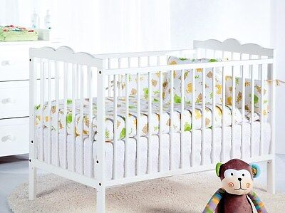 Nursery baby cot bed white 120x60 RADEK III solid pine wood 3 height levels