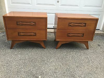 Pair of Mid Century Modern Two Drawer Nightstands End Tables Vintage