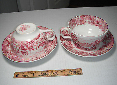 Soup cups and saucers lot  Enoch Woods Ware English Scenery Red Transferware