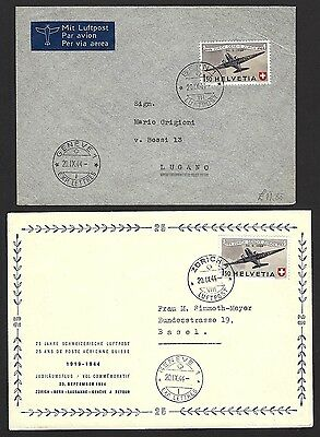 Switzerland 1944 Airmail 1.50 Fr FDC & First Flight cover (2)