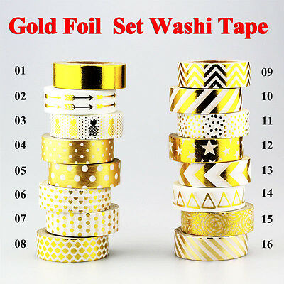 Paper Foil Washi Masking Tape Adhesive Roll Deco Card Craft Trim Cute Gold Color