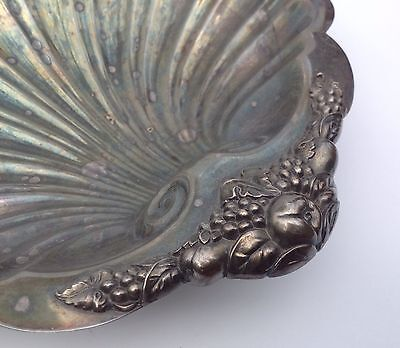 Vintage W & SB Blackington Silverplate Footed Dish Bowl Grapes Fruit Signed!