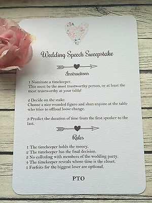 10 Vintage/Shabby Chic Wedding table guest game/speech sweepstake