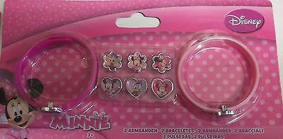 Minnie Mouse Pack of 2 Bracelets and 8 Charms Childrens Set Pink  5.5 Inch