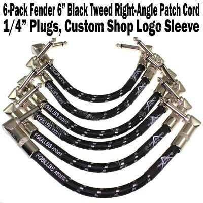 """6-Pak Fender 6"""" Black Tweed 1/4"""" Right Angle Patch Cable Cord Guitar Custom Shop"""