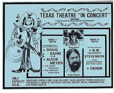 Doug Sahm Augie Meyer Concert Poster 1970's Texas Theater Dallas B.W. Stevenson
