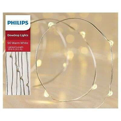 Philips 90-Count Dewdrop Micro LED Fairy String Lights Warm White Shapeable Wire