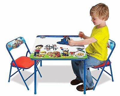 Disney Paw Patrol Kid's Erasable Activity Play Table w/ 2 Chairs Playroom Set