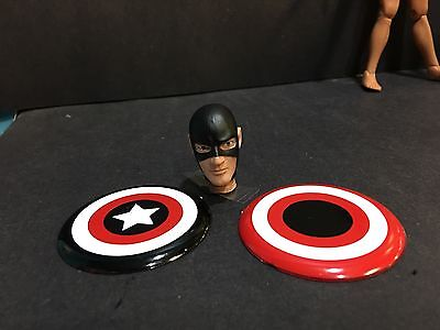 """Two Custom 8"""" Mego Scale US Agent - Captain America Shields & head Free Shipping"""