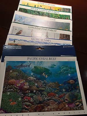 Nature Of America Stamp Sheets -- Usa Complete Mint Never Hinged Set Of 12
