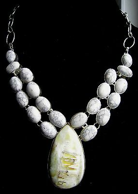 Big Picture Moss Prehnite with Gray Howlite Silver plate Necklace 21 stones 19""