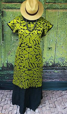 Olive Green & Black Hand Embroidered Huipil Dress Jalapa Oaxaca Mexico Hippie