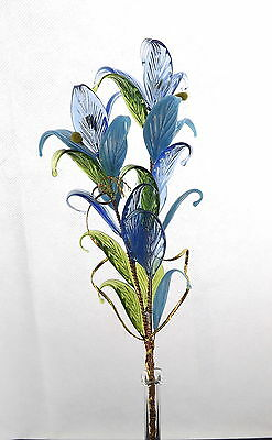 Blue Crystal Glass Flower In Vase Perfect Gift For Any Occasion Celebration New