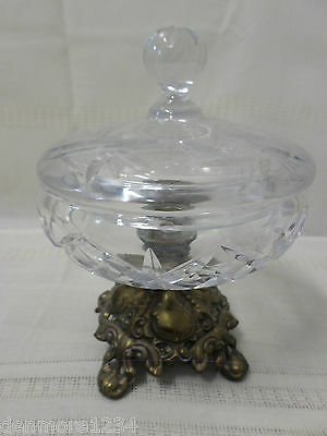 Vintage Crystal Covered Candy Dish Brass Colored Pedestal