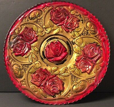 EAPG Goofus Glass Double Rose Scalloped Rim Plate with Pedestal Base