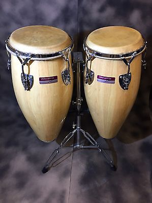 Percussion Plus Congas Solid Wood 10 And 11 Inch Drums With Stand