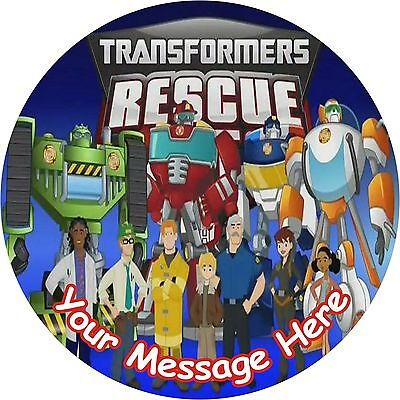 """Transformers Rescue Bots  7.5"""" Round Icing Cake Topper"""