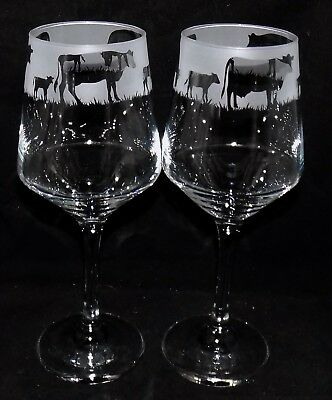 """New Etched """"COW WINE GLASS"""" - Single or Pair - Unique and Beautiful Gift"""