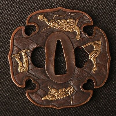 Brass Tsuba Handguard for Japanese Samurai Sword Plated DRAGON