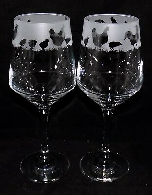 "New Etched ""CHICKEN"" Wine Glass(es) - Free Gift Box - Large 390mls Wine Glass"