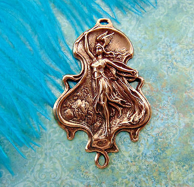 ANTIQUE COPPER Warrior Goddess Lady Athena Valkyrie Stamping - Connector (D) `