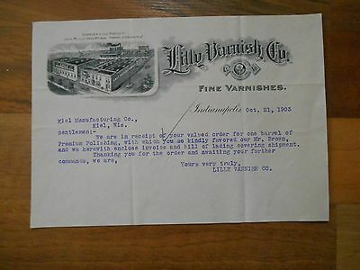 Antique 1903 Lilly Varnish Co Fine Varnishes Indianapolis Indiana Letter Paper