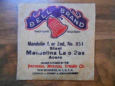 Old Vintage Bell Brand Mandolin A or 2nd No. 051 Steel National Musical String