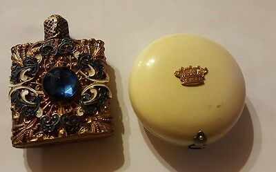 One early 20th Century French Compact  and a Filegriee Perfume Bottle