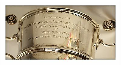 1905 Sterling Silver (652gm) Trophy. Askew Of Ladykirk Berwick To Scremerston HS