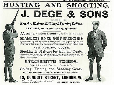 1906 J. Dege & Sons Breeches Makers Military Tailors Vintage Original Print Ad