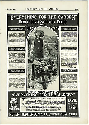 1904 Hendersons Superior Seeds Man Wheelbarrow Garden Vintage Original Print Ad