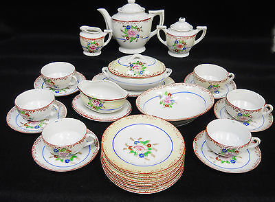 Vintage Hand Painted Lusterware Child's Toy Dishes Tea / Dinner Set for 6  28 pc