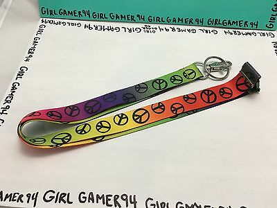 "Excellent Condition 20"" Colourful Peace Rainbow Landyard/Lanyard"