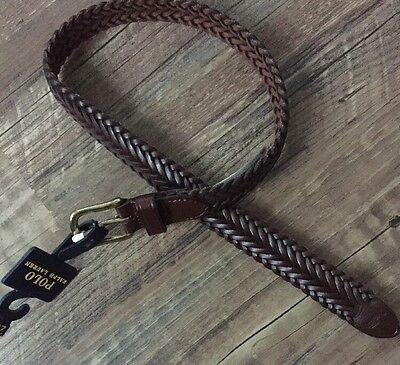 Polo Ralph Lauren Size 20 Boys Braided Brown Leather Belt NWT
